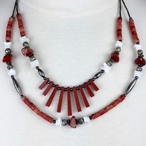 Shell Bead Coral Tribal Inspired 2 Strand Necklace